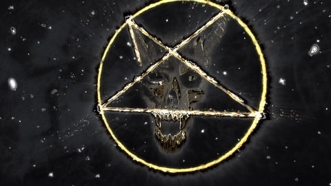 4K Pentagram Symbol with Revealing Satan Face v2 12 Animation