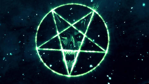 4K Pentagram Symbol with Revealing Satan Face v2 13 Animation