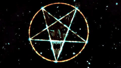 4K Pentagram Symbol with Revealing Satan Face v2 15 Animation