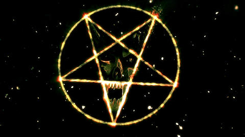 4K Pentagram Symbol with Revealing Satan Face v2 16 Animation