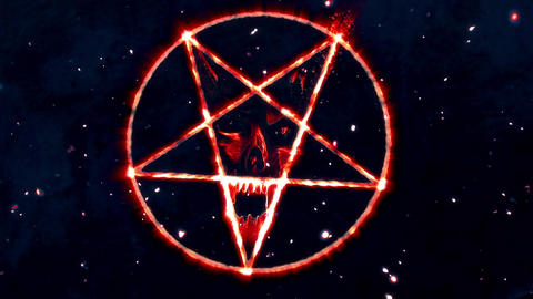 4K Pentagram Symbol with Revealing Satan Face v2 17 Animation
