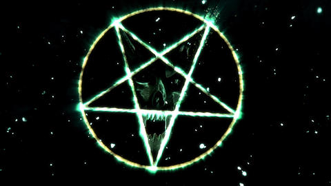 4K Pentagram Symbol with Revealing Satan Face v2 18 Animation