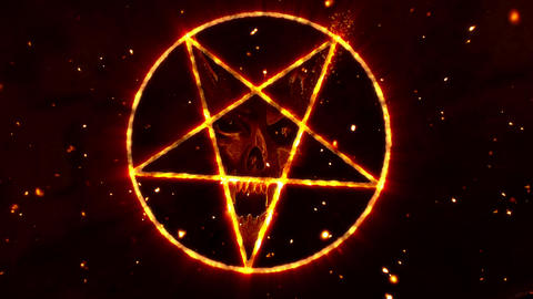 4K Pentagram Symbol with Revealing Satan Face v2 2 Animation