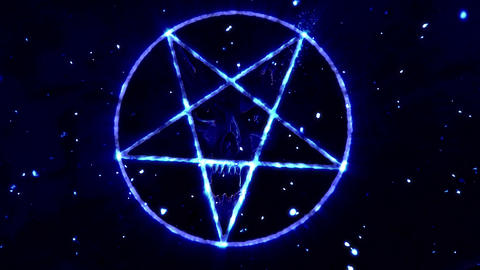 4K Pentagram Symbol with Revealing Satan Face v2 4 Animation