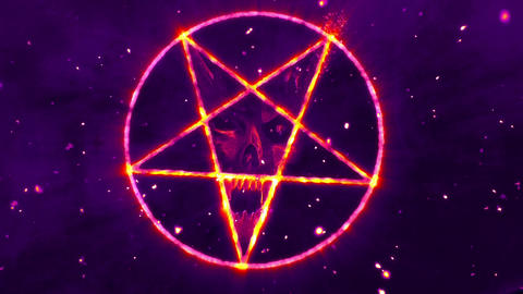 4K Pentagram Symbol with Revealing Satan Face v2 5 Animation