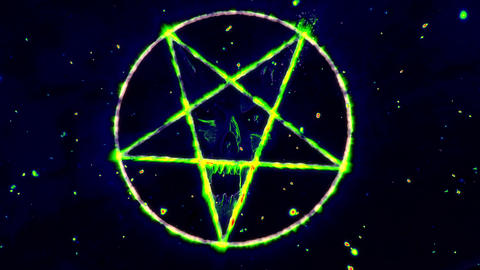 4K Pentagram Symbol with Revealing Satan Face v2 9 Animation