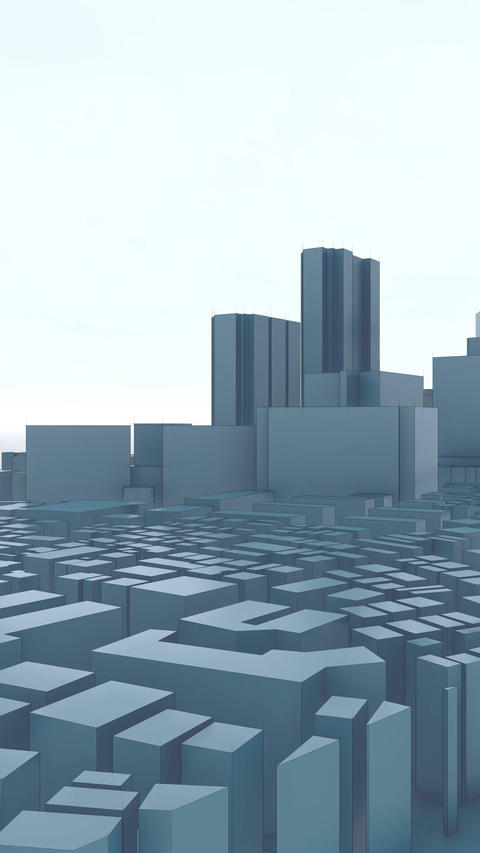 Shinjuku skyscrapers abstract 3D city vertical Animation