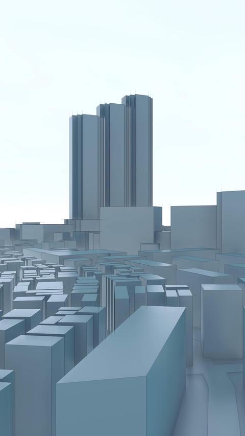 Tokyo city skyline abstract vertical 3D animation CG動画