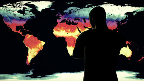 4K Man Watching Earth Landmass Global Warming Simulation 2 Animation