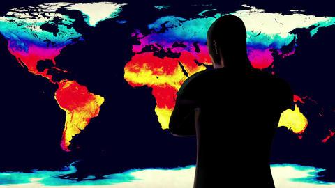 4K Man Watching Earth Landmass Global Warming Simulation Animation