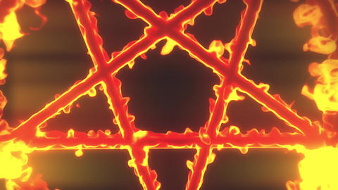 4K Pentagram on Fire Magic Symbol Zoom Out 3D Animation 1 Animation