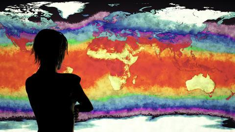 4K Woman Watching Earth Landmass and Water Surface Global Warming Simulation Animation
