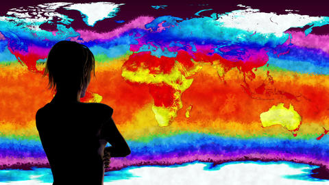 4K Woman Watching Earth Landmass and Water Surface Global Warming Simulation Animation