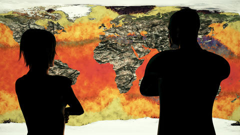 4K Woman and Man Watching Death of Earth Global Warming Simulation 2 Animation