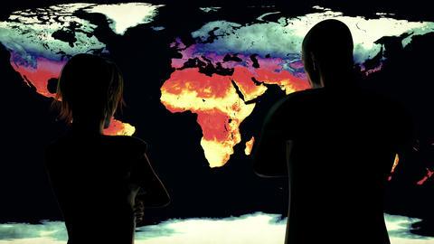 4K Woman and Man Watching Earth Landmass Global Warming Simulation 2 Animation
