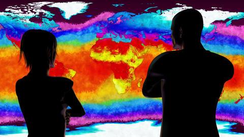 4K Woman and Man Watching Earth Landmass and Water Surface Global Warming Simula Animation