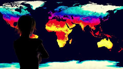 4K Woman Watching Earth Landmass Global Warming Simulation Animation