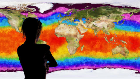 4K Woman Watching Earth Water Surface Global Warming Simulation Animation