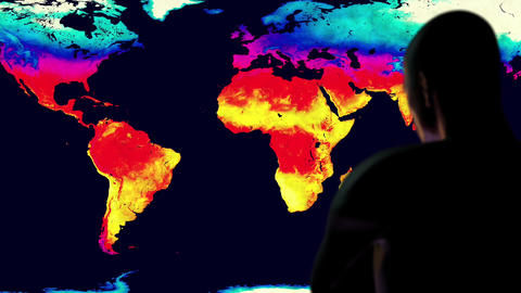 Man Watching Earth Landmass Global Warming Simulation Cinematic Camera Motion Animation
