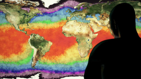 Man Watching Earth Water Surface Global Warming Simulation Cinematic Camera M Animation