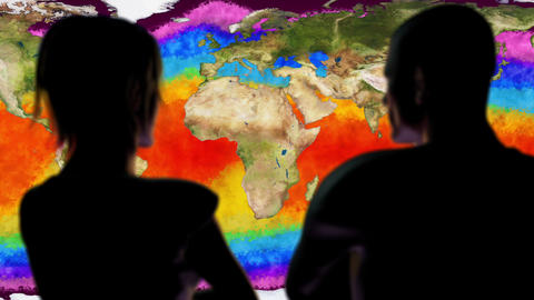 Woman and Man Watching Earth Water Surface Global Warming Simulation Cinemati Animation
