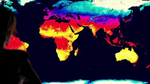Woman Watching Earth Landmass Global Warming Simulation Cinematic Camera Moti Animation