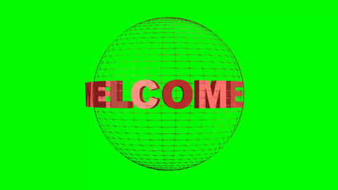 Welcome inscription rotating about wireframe sphere. Intro on green screen. Animation