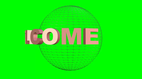 Welcome inscription rotating about wireframe sphere.... Stock Video Footage