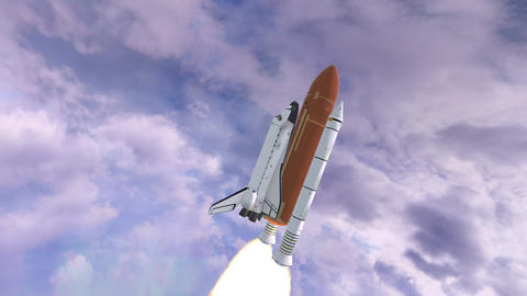 Realistic 3D Animation of Space Shuttle Launching over earths atmosphere GIF