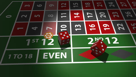 Red dices falling on casino table in slow motion Footage