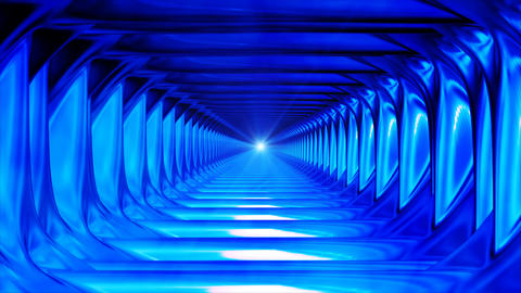 Broadcast Endless Hi-Tech Tunnel, Blue, Industrial, Loopable, 4K Animation