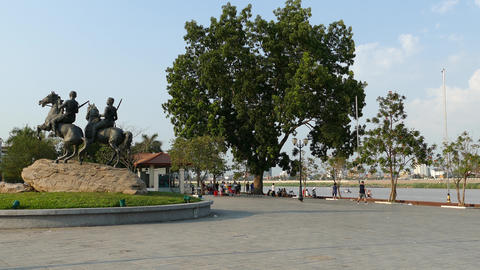 The Royal Warrior's Monument in Phnom Penh Footage
