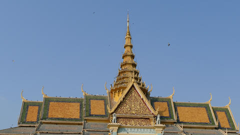 The roof of the Moonlight Pavilion and Royal Palace in Phnom Penh Footage