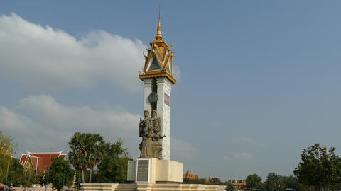 Statue at Wat Bottom Park in Phnom Penh Footage