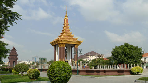 Statue of King Father Norodom Sihanouk in Phnom Penh Footage