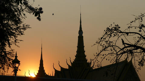 Time lapse from Sunset at Royal Palace in Phnom Penh Footage