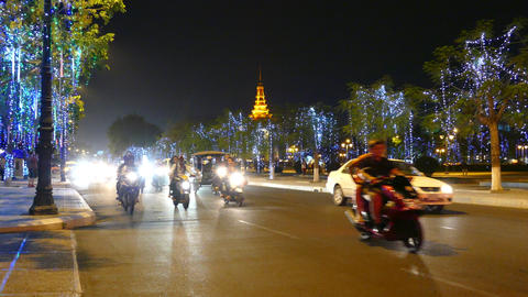 Time lapse from traffic at night in Phnom Penh Footage