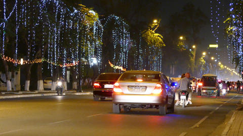 Traffic at night in Phnom Penh Footage
