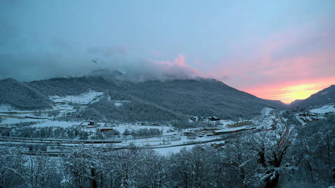 Night fell in the valley the ski resort of Krasnaya Polyana. Timelapse Footage