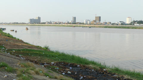 Garbage at the riverside of Phnom Penh Footage