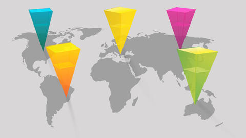 world map with colorful pointer marks showing global concept design After Effects Template
