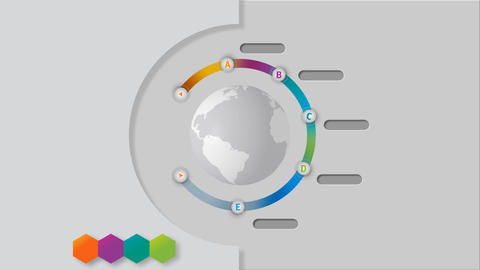 Rotating earth globe with color wheel showing global network and task plates After Effects Template