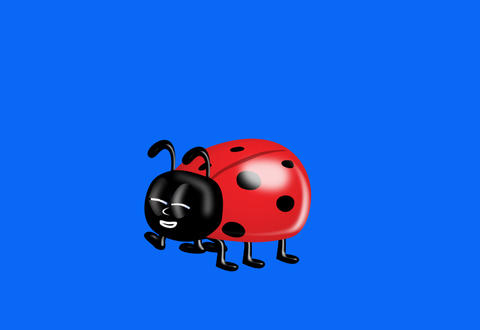 Ladybird/bug yawns and flies off Animation