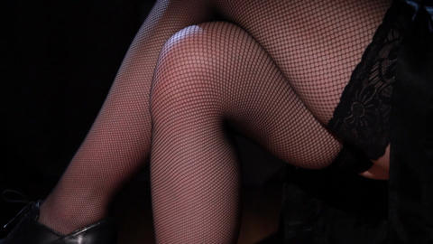 Beautiful female legs in stockings Footage