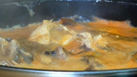 Delicious dish of fisherman. Fish stew - kitchen on open fire Footage