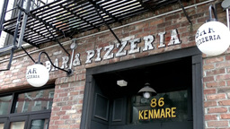 New York City 509 entrance of bar and pizzeria in downtown Little Italy Footage