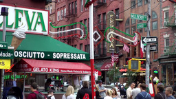 New York City 513 ice cream parlor at a crossing of Little Italy Footage