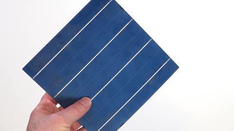 Solar Panel Cell Inspection in One Hand Live Action