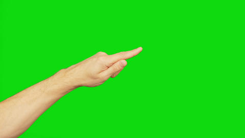 Left hand with index finger, isolated on a green screen. Finger point to corner Live Action