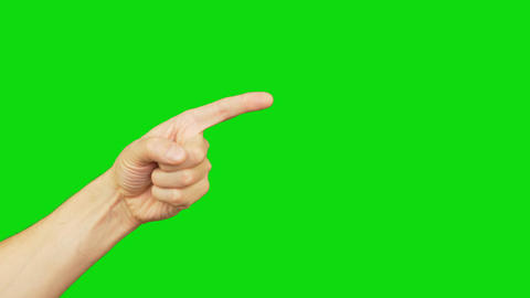 Male left hand with index finger point on green screen background. Alpha channel Footage